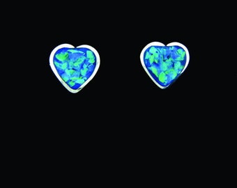 ER4W Heart Post Earrings Sterling Silver with White Opal Chip