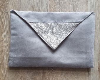 bronze and taupe suede evening bag