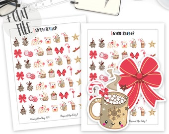 Printable Christmas Hot Chocolate Planner Stickers, Winter Stickers, Bullet Journaling and Planners, Cut File Stickers, Cute, Kawaii