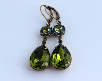 Olivine earrings, Swarovski earrings, olivine and blue earrings, green earrings, olive earrings, bridesmaid earrings, blue earrings, OB03
