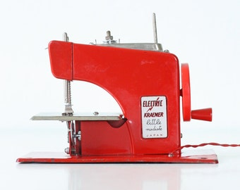 "Vintage Sewing Machine - Electric Kraemer Red ""Little Modiste"" with foot pedal"