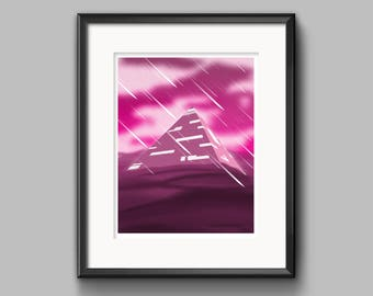 Pyramid Art Print - painting, dark, surreal, pink, storm, desert, dunes, pyramid