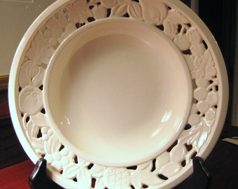 Vintage Reticulated CREAMWARE BOWL Marked