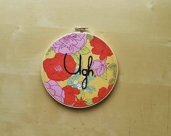 "Hand Embroidery ""Ugh"" Hoop Art, Funny Wall Art, Modern Embroidery, Floral Wall Art"
