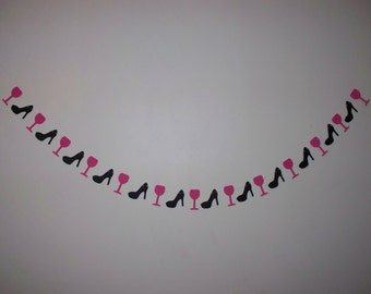 Garland - Hot Pink and Black - Wine Glass and High Heel Shoe Garland - Party - Girls Night - Bachelorette Decor - Wall Decor - 4,5,8,10 foot