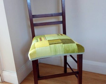 Vintage mahogany wooden chair with freshly upholstered patchwork velvet and chenille seat in greens & yellow