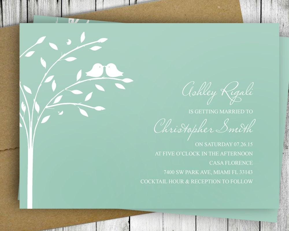 Love Birds Wedding Invitations: Love Bird Invitation Wedding Bridal Shower Printable Mint