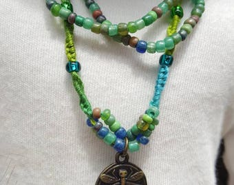 Hand knotted blue-green cotton cord necklace made for 18 inch dolls like American girl.