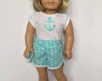 """Shirt & Shorts, fit like American Girls clothes, Nautical t-shirt, Lace trim, 18"""" doll shorts, Girl doll clothes, sewn to fit 18"""" girl doll"""