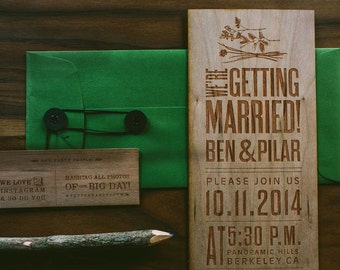 Nature Inspired Wooden Engraved Wedding Invitation