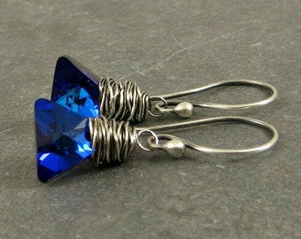 Crystal Earrings,  Blue Crystal Earrings , Triangle Crystal Earrings Holiday Jewelry Gifts for Her