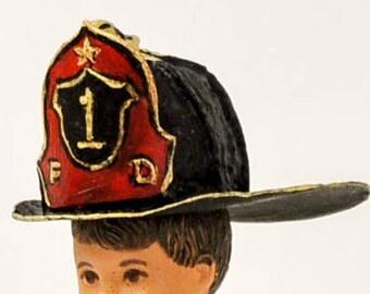 Miniature firemans helmet - first responder equipment - firehouse miniature - vintage helmet - Victorian style -