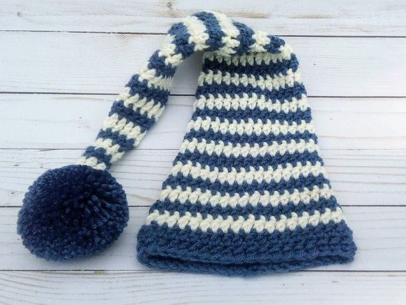 Newborn Blue & Cream Striped Elf Hat