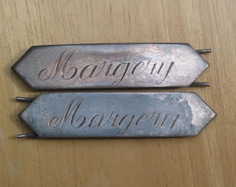 pair sterling silver antique Barretts copperplate script engraved MARGERY
