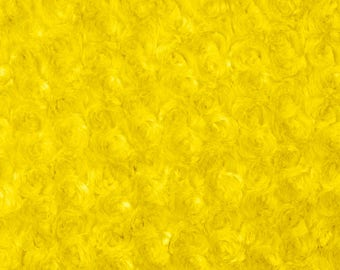 Yellow Rosebud Cuddle Minky Fabric, Sold by The Yard
