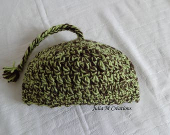 YARN color Brown and lime green, made crochet baby Hat