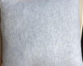 Gray fleece throw pillow