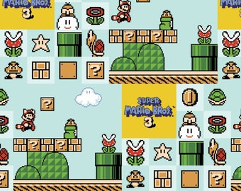 Nintendo Super Mario Brothers 3 on Light blue Quilt Cotton Fabric By The Yard / By The Half Yard