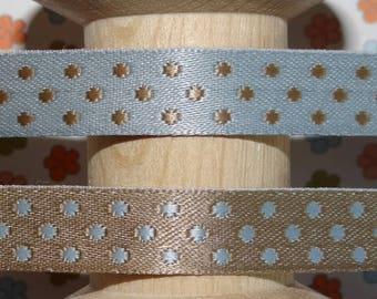 Ribbon with blue and gray dots reversible