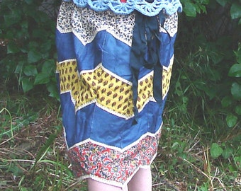 Patchwork diamonds skirt in cotton cambray and printed paisleys
