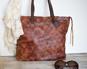 Rustic Leather Tote Bag,Brown Leather Purse,Leather Zipper Tote,Boho Tote Bag,Brown Leather Bag,Distressed Leather Tote,Brown Leather Tote