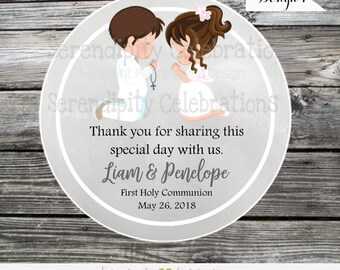 Communion favor tags, Confirmation Favor tags, First Holy Communion Stickers, Religious, Set of 12 Personalized Favor Tags, Stickers Baptism