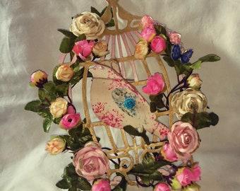 Floral Birdcage, Bird Cage, wall hanging, decorative birdcage, wooden birdcage,shabby chic, Tilda bird, flowers, pink, home decor, wall art