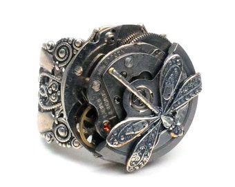 Steampunk Vintage Swivel Mechanism Watch Movement and Dragonfly Adjustable Ring