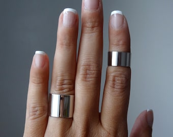 cuff knuckle ring set / shiny finish / tube ring set of 2, above the knuckle ring, midi cuff ring, Wide band ring, wide cuff ring