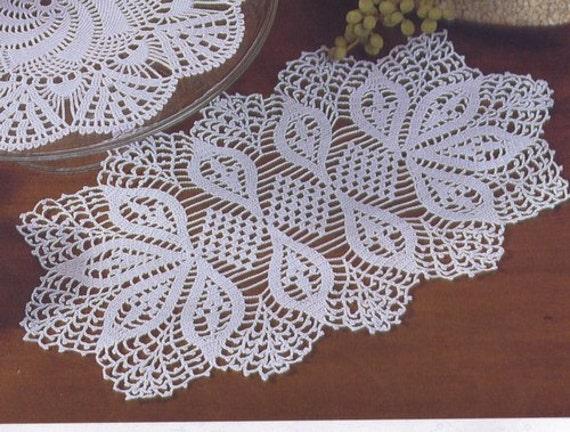 Oval Crochet Doily Table Decoration Center Piece Pattern Symbol