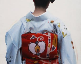 Hajimari - 53cm x 36cm original oil painting on linen canvas - japanese geisha art asian maiko oriental artwork