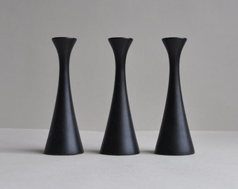 Small Black Lacquer Candlestick Holders - Made in Sweden - Set of 3