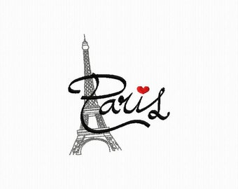 Paris and Eiffel Tower format 4 x 4 and 5 x 7 machine embroidery