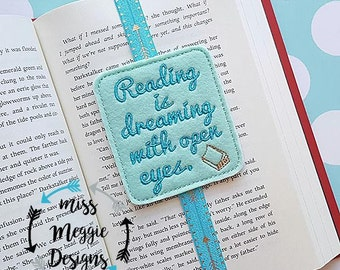Reading is dreaming Bookmark ITH embroidery design file
