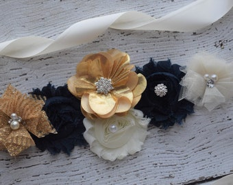 Flower Sash, Ivory gold navy Sash , flower Belt, maternity sash, flower girl sash, baby shower sash