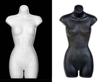"""Torso Sculpture Store Display Fixtures For Your Boutique & Home • Brand New In Hollow Cast Vinyl • 31""""H x 16""""W x 6""""D • Black OR White !"""