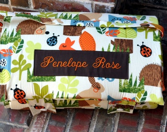 Personalized Kinder Nap Mat - Preschool Nap Mat in Forest Woodland Animals with Orange Minky Dot Blanket, Children Sleeping Mat for Kids