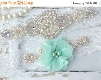 ON SALE Mint Wedding Garter Set, Wedding Garter, Lace Wedding Garter, Mint Garter, Seafoam Garter, Mint Green Garter Belt, Flower Garter, Be
