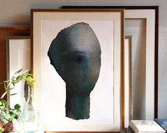Giclee Print of Emerald Green Abstract Painting, Oversized Modern Wall Art, Large Original Fine Art, Feminist Art