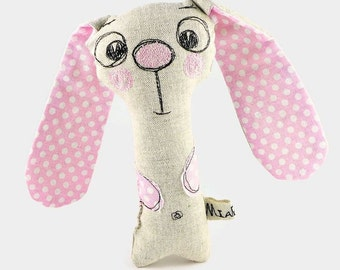 Personalized Baby Girl Gift, Baby Rattle, Bunny Toy, Personalized Stuffed Animal, Stuffed Bunny Rabbit, Baby Shower Gift, Easter Toy