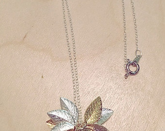 Sterling Silver Necklace Gold/Silver Plated Leaves