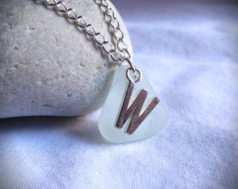 CLEARANCE - Initial W, Seaglass Pendant, Sea Glass Necklace, Customized Pendant, Necklace, Personalised Pendant, Personalized - PC17007