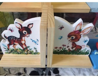 Baby dear and bunny bookends