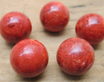 Red Sponge Coral 20MM beads, Set of 5