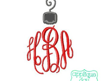 Christmas Ornament Top Digital Applique Design Instant Download