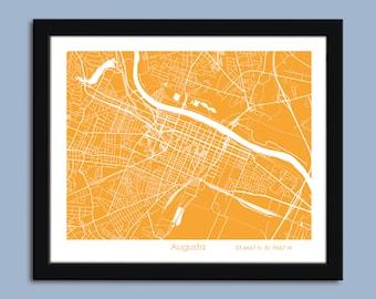 Augusta map, Augusta city map art, Augusta wall art poster, Augusta decorative map
