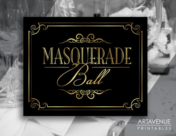 Masquerade Printable Signs | Masquerade Ball | Digital Downloads | Black  and Gold Masquerade Party | Classic Party Printables - VBG1