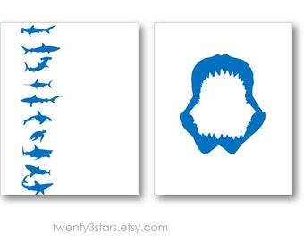 Shark Jaws Art Prints, Shark Canvas Art, Shark Art, Marine Life Poster, Ocean Canvas Art, Shark Wall Art, Shark Room Art, Shark Lover Gift