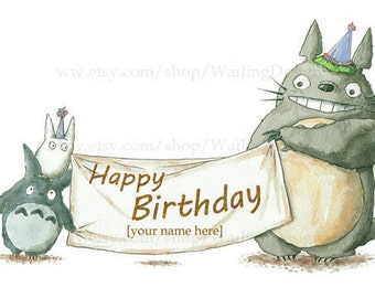 Totoro birthday card etsy customizable totoro greeting card create a personalized birthday message bookmarktalkfo Choice Image