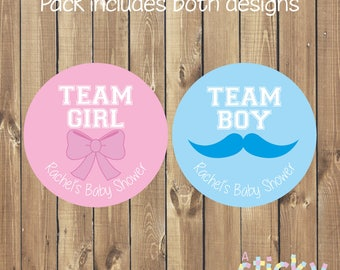 Personalized Gender Reveal Stickers, Gender Reveal, He or She Stickers, Team Boy, Team Girl, Baby Shower Stickers, Gender Reveal Stickers
